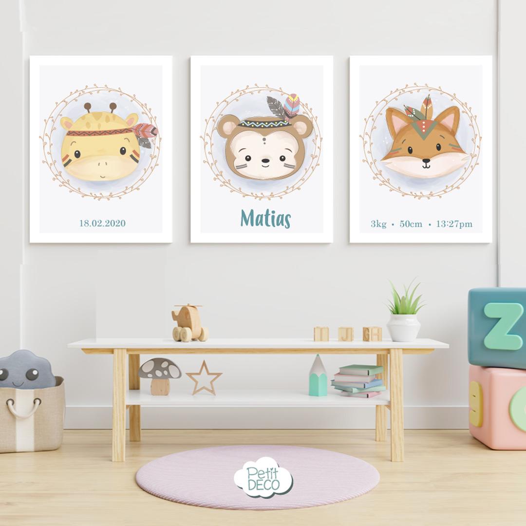 Cuadros Decorativos Infantiles - Baby Boy - Personalizado con el nombre de tu bebé