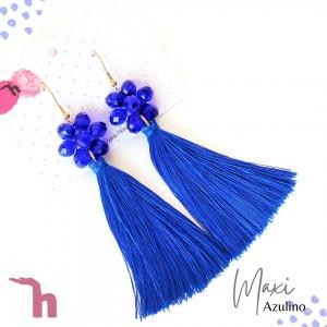 Aretes Maxifleco Plata y Azulino - Handmade