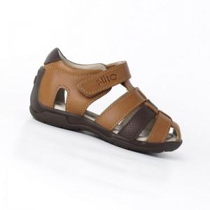 Sandalia Velcro Natural - 100% Cuero Premium