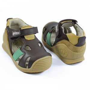 Calzado Elefantito Marrón-Amarillo - 100% Cuero Premium