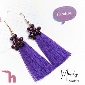 Aretes maxiflecos violeta