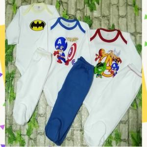 Body Y Pantalón Tripack Super Heroes - Pima