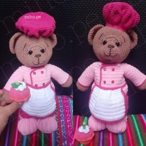 Osita Repostera con Cupcake - Amigurumi para niños