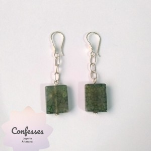 Aretes murano verde matizado y cadena