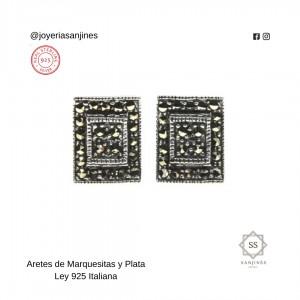 Aretes de Plata Italiana con marquesitas