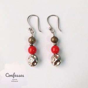 Aretes perla y coral
