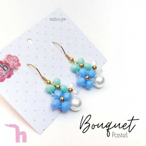 Aretes Bouquet Celeste y Grises - Handmade
