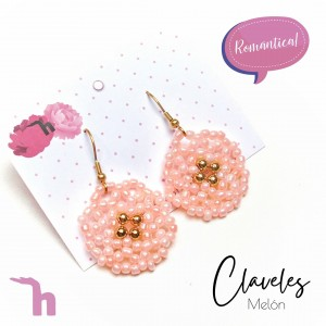 Aretes Camelias Withe y Melón - Han Made