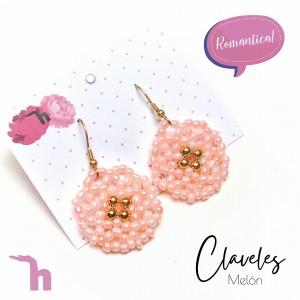Aretes Claveles White y Melón - HandMade