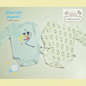 Pack 2 Bodys Mickey Mouse Celestes - Ropa para bebés de 9 a 12 meses