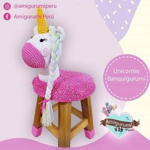 BanquiGurumi Unicornio Sparkle - Silla Banco - Amigurumi crochet - Regalo para niñas