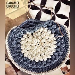 Bolso de Mano Vintage - Clutch - Color Azul Cielo y Hueso - Crochet