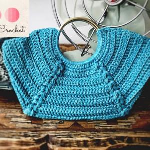 Bolso de mano trenzado - Color Turquesa - Crochet
