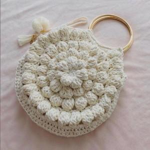 Bolso de mano Vintage - Clutch casual - Color Hueso - Tecnica Crochet