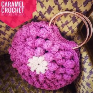 Bolso de Mano Vintage - Clutch - Color Fucsia - Crochet