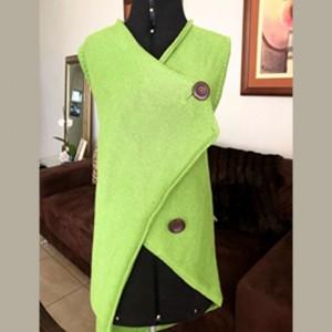 Chaleco de algodón - Tejido de algodón pima con botones marrones