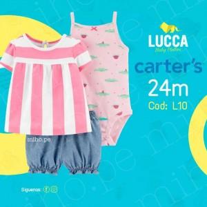 Conjunto de 3 piezas - Camiseta a rayas, pantalones y body - Ropa para bebés