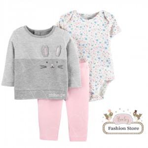 Conjunto 3 piezas Conejito - Ropa para bebés de 12 meses