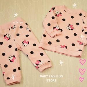 Conjunto Minnie Mouse Rosa con Lunares - BABY FASHION STORE