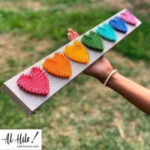 Corazones Multicolor - Cuadro Hilorama