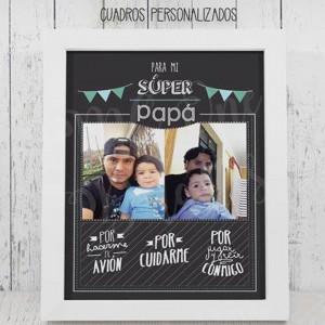Cuadro Personalizado Superpapá - Collage de Fotos para Papá - Regalo
