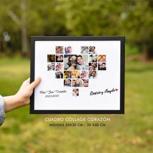 Cuadro Corazón Personalizado - Collage de Fotos de Novios - Regalo