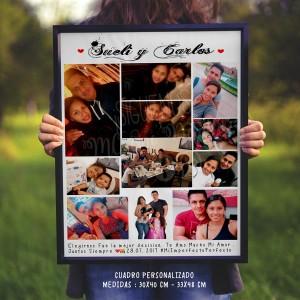 Cuadro Personalizado - Collage de Fotos de Novios - Regalo