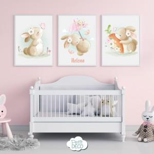 Cuadros Decorativos Infantiles - Baby Aquarela - Personalizado con el nombre de tu bebé