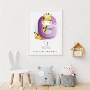 Cuadros Decorativos - Personalizado con la inicial del nombre de tu bebé
