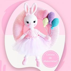 Corona de Maternidad Bunny Baby Girl - Amigurumi Crochet - Llegada de Bebé