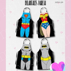 Delantales Superhéroes y Villanos Famosos - Para adultos y niños