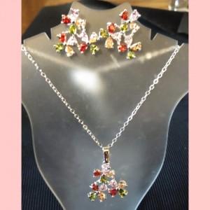 Juego de Cristales de colores rojo, rosado, naranja y verde limón - Acero quirúrgico