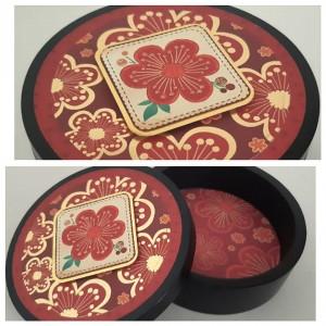 Joyero de Madera Pino - Pintado al Duco - Estilo Flores Doradas