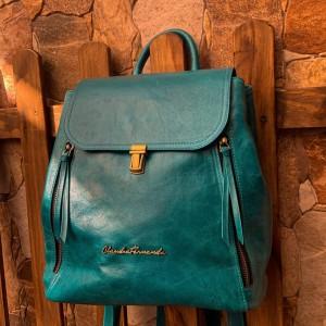 Backpack Elian - Bolso de Dama - Colores Turquesa - Mochila de Cuero