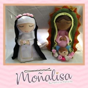 Personajes de Fieltro - Santa Rosa de Lima, Virgen de Guadalupe y más - Todo bordado - Regalo Perfecto