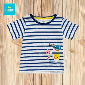 Polo a rayas azul manga corta Baby Shark - Atuendo Sport - Ropa para niños de talla 2