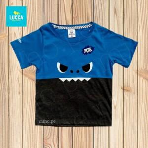 Polo azul y negro manga corta Baby Shark - Atuendo Sport - Ropa para niños de talla 2