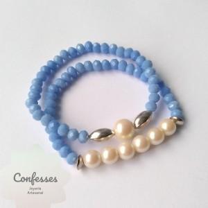 2 Pulseras elásticas perlas y muranos celeste