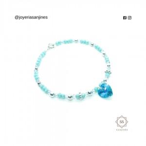 Pulsera de Plata Ley 950 - Cristal de Swarovski y finas piedras de Murano