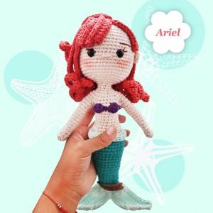 Princesa Ariel - Amigurumi Crochet - Hermosa muñeca - Regalo para niñas