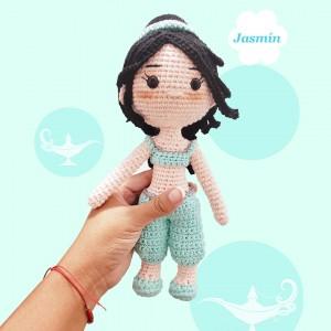 Princesa Jazmin - Amigurumi Crochet - Hermosa muñeca Coleccionable - Regalo para niñas