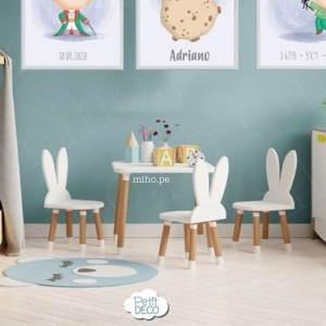 Mesas y sillas Conejito - Decoración para bebés