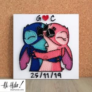 Stitch y Angel - Cuadro hilorama