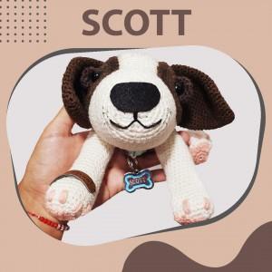 Scott Perro Personalizado - Amigurumi Crochet - Regalo para Bebé Niño