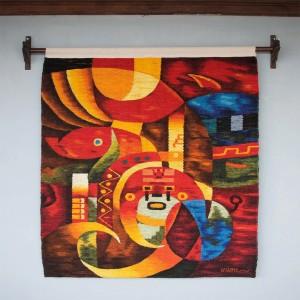 Tapiz de lana tejida a mano de Perú - Inca Sun Guardian
