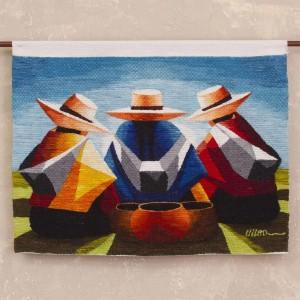 Tapiz trío andino multicolor 100% lana - Conversación de Mujeres