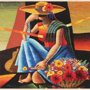 Tapiz de lana andina de estilo cubista tejido a mano de Perú - Mujer de las Flores