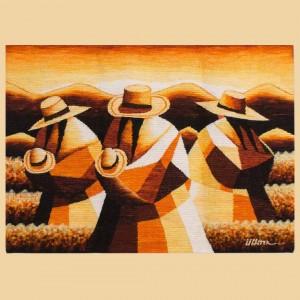 Tapiz de lana tejida a mano de trabajadores andinos del Perú - Puesta de sol en el país andino