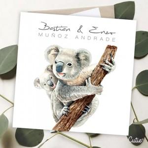 Tarjeta de Hermanos - Estilo Koala - Personalizada - Etiquetas de Regalo