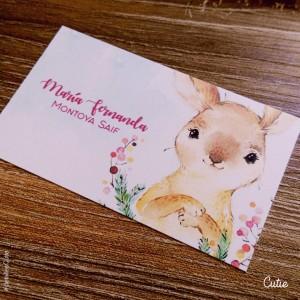Tarjetas de Niña - Modelo Conejo Silvestre - Personalizada - Etiquetas de Regalo